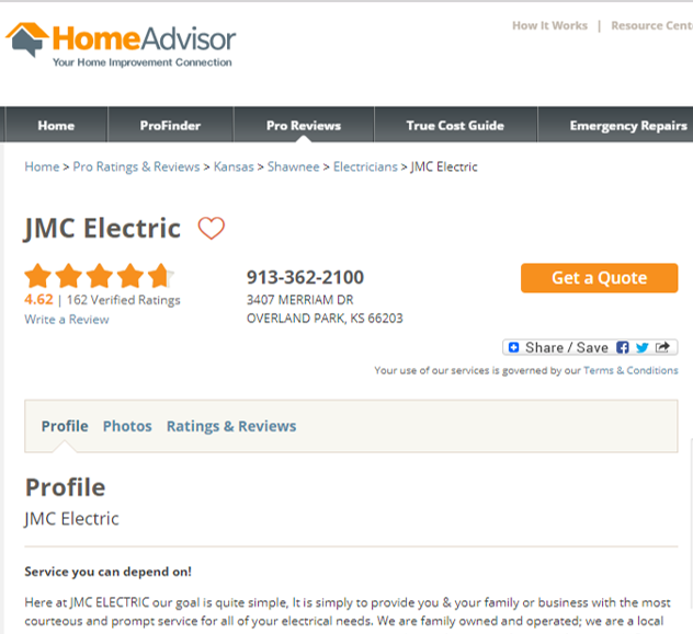 Kansas City Home Advisor Electrician 5 Star Ratings