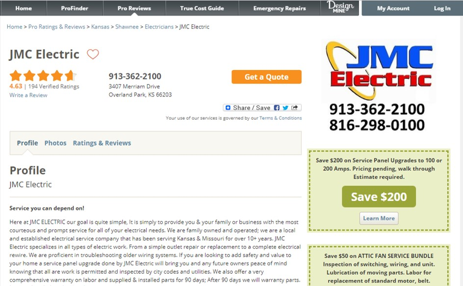 Kansas City Residential Electrician Yelp Review Ratings